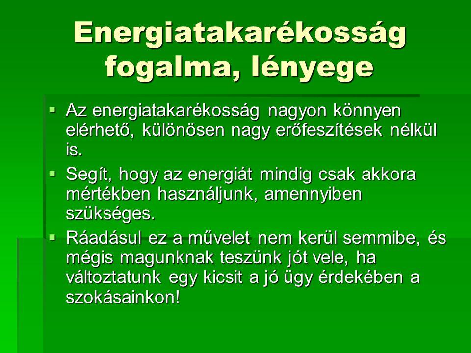 Energiatakarékosság fogalma, lényege