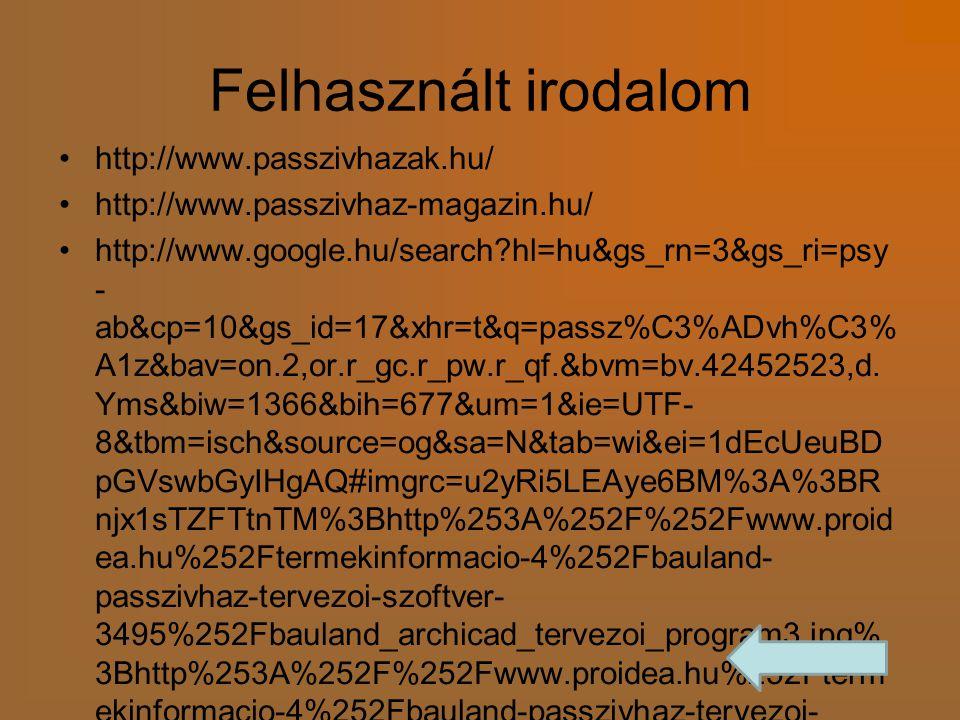 Felhasznált irodalom http://www.passzivhazak.hu/