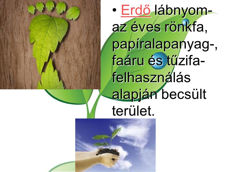 Erdő lábnyom- az éves rönkfa, papíralapanyag-, faáru és tűzifa-felhasználás alapján becsült terület.