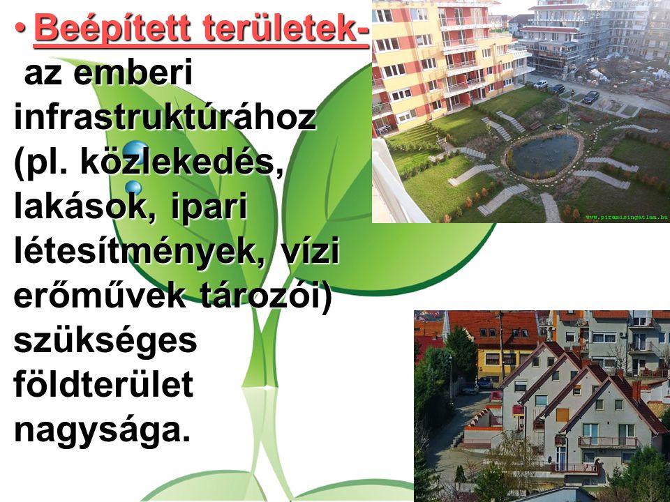 Beépített területek- az emberi infrastruktúrához (pl