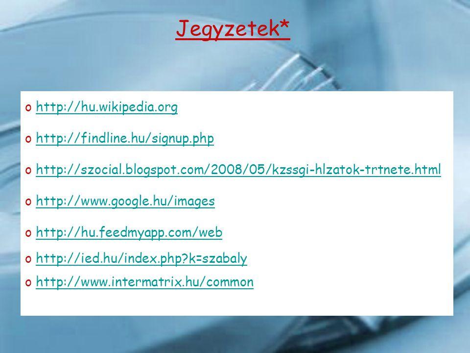 Jegyzetek* http://hu.wikipedia.org http://findline.hu/signup.php