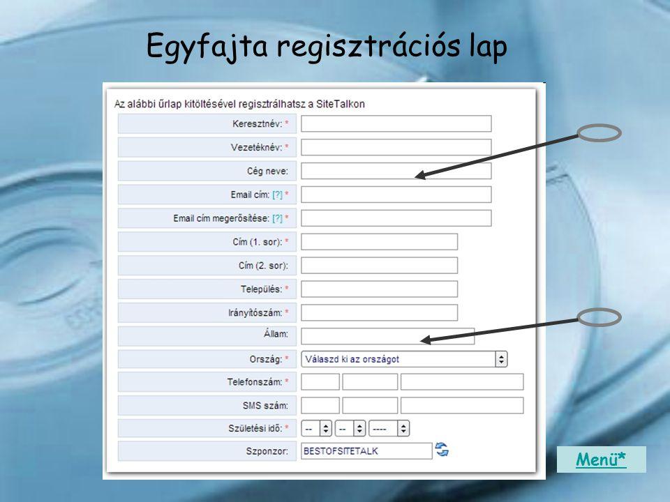 Egyfajta regisztrációs lap