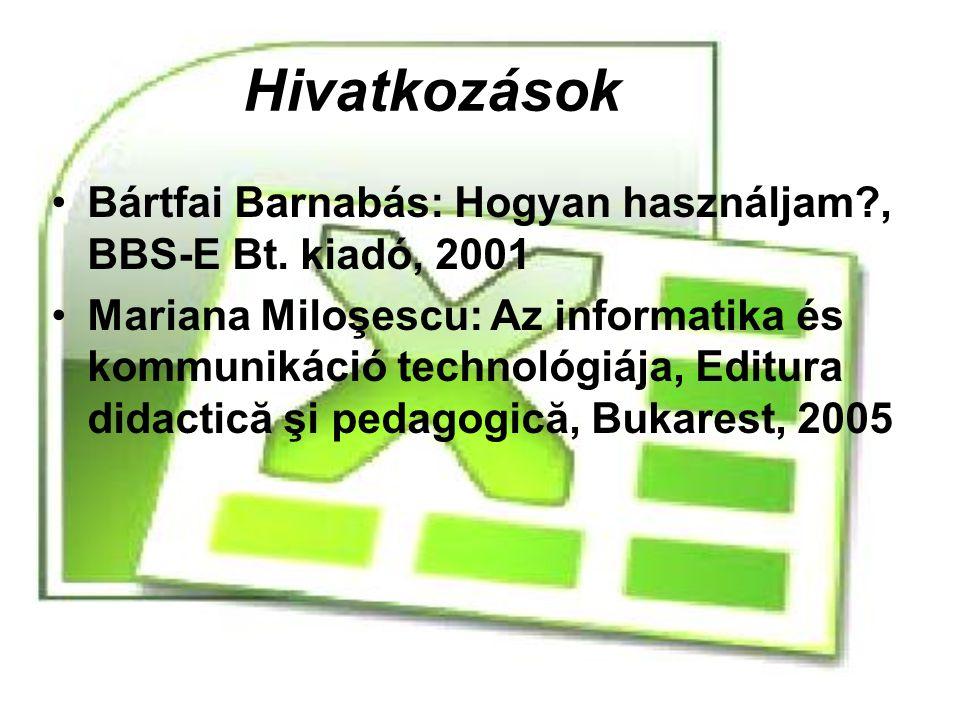 Hivatkozások Bártfai Barnabás: Hogyan használjam , BBS-E Bt. kiadó, 2001.