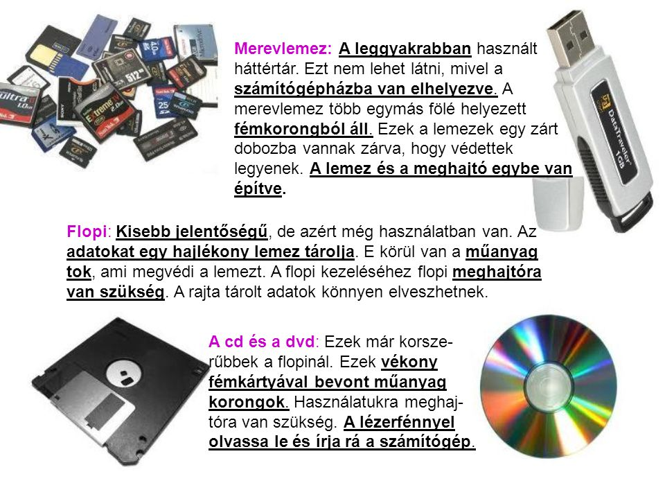 Merevlemez: A leggyakrabban használt háttértár