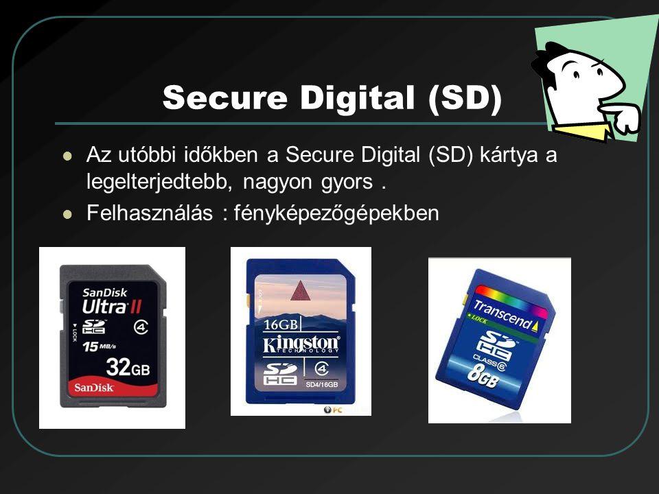 Secure Digital (SD) Az utóbbi időkben a Secure Digital (SD) kártya a legelterjedtebb, nagyon gyors .