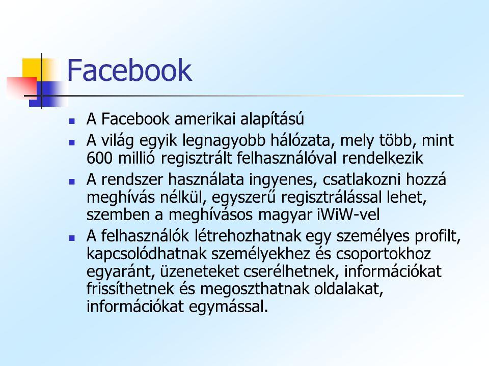 Facebook A Facebook amerikai alapítású