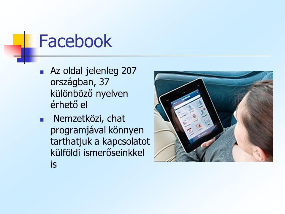 Facebook Az oldal jelenleg 207 országban, 37 különböző nyelven érhető el.