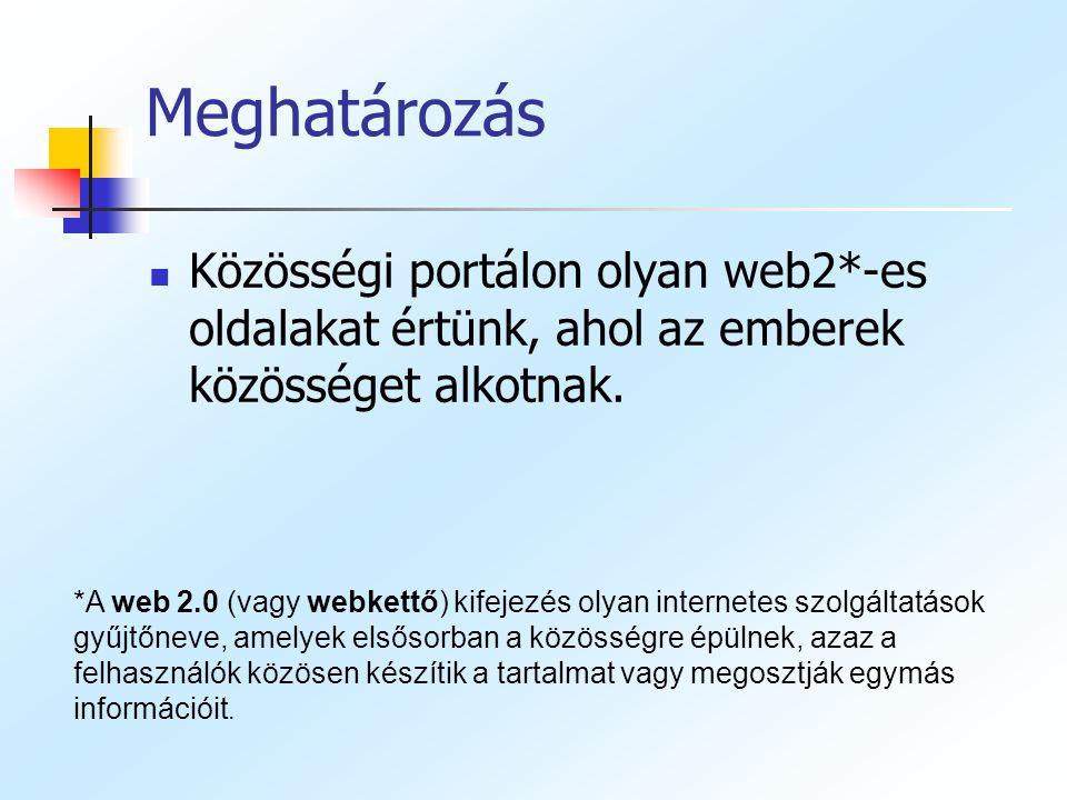 Meghatározás Közösségi portálon olyan web2*-es oldalakat értünk, ahol az emberek közösséget alkotnak.