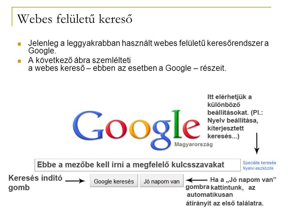 Webes felületű kereső Jelenleg a leggyakrabban használt webes felületű keresőrendszer a Google.