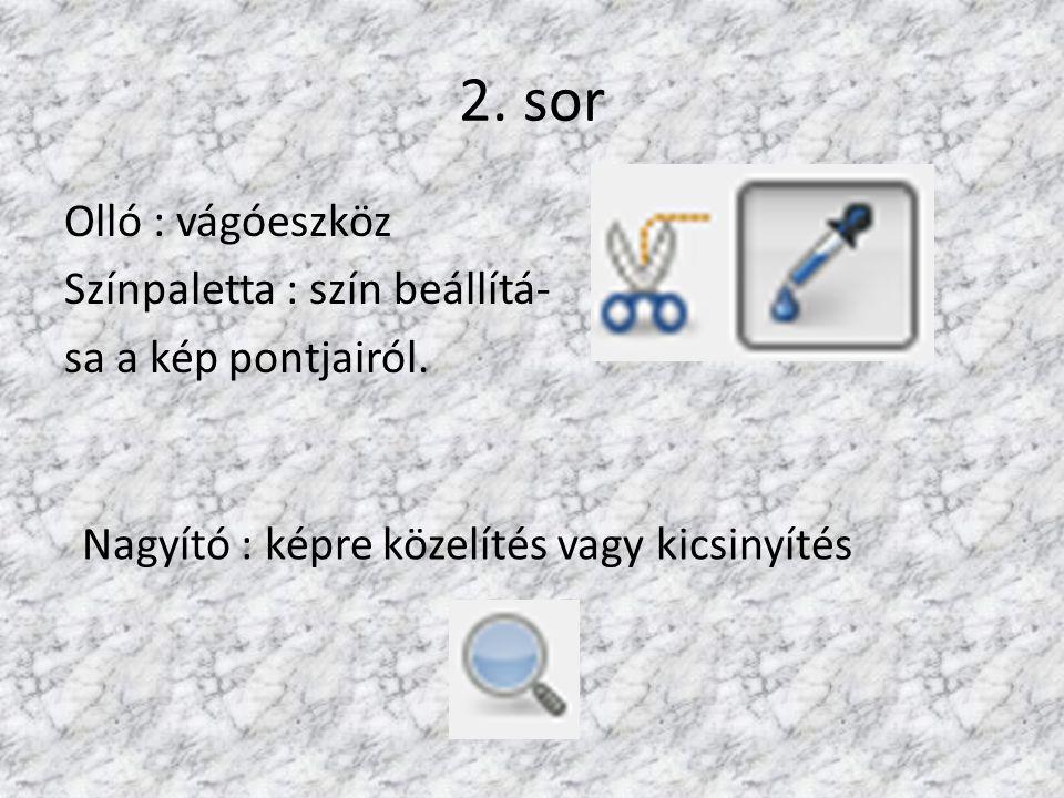 2. sor Olló : vágóeszköz Színpaletta : szín beállítá- sa a kép pontjairól.