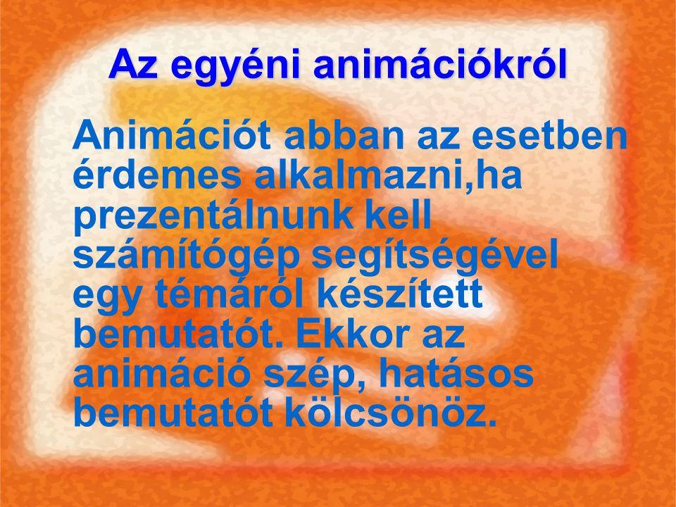 Az egyéni animációkról