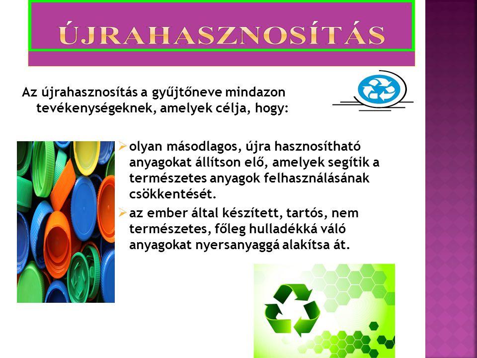 Az újrahasznosítás a gyűjtőneve mindazon tevékenységeknek, amelyek célja, hogy: