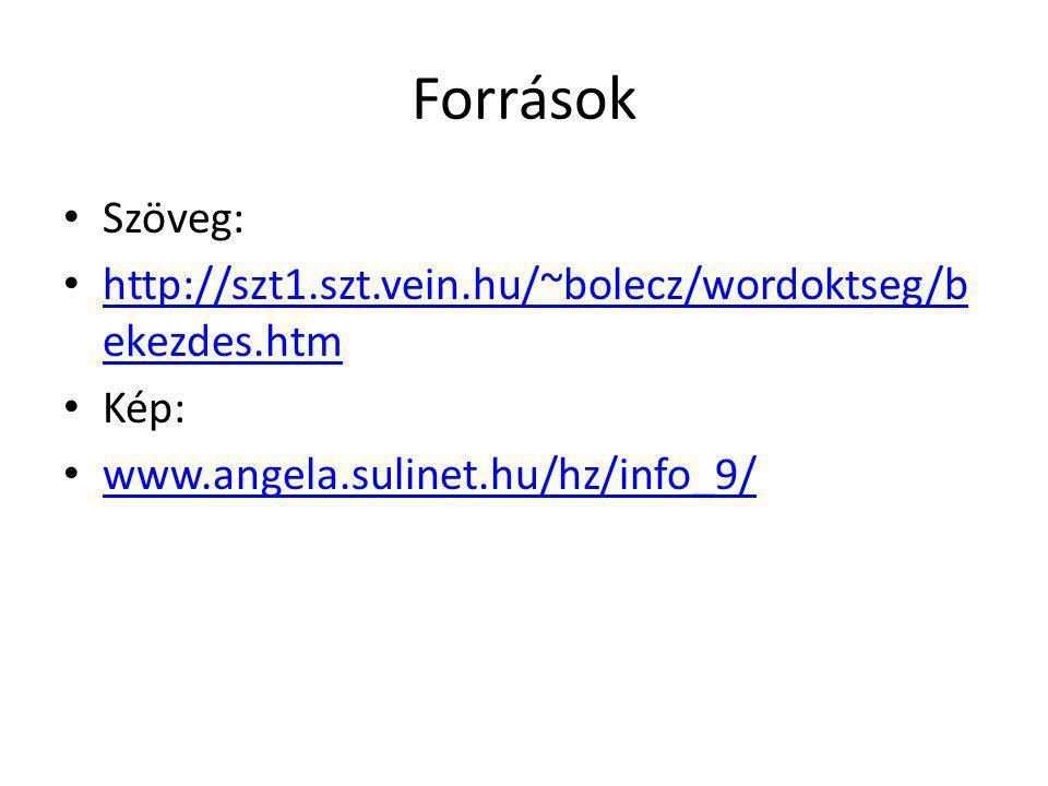 Források Szöveg: http://szt1.szt.vein.hu/~bolecz/wordoktseg/bekezdes.htm.