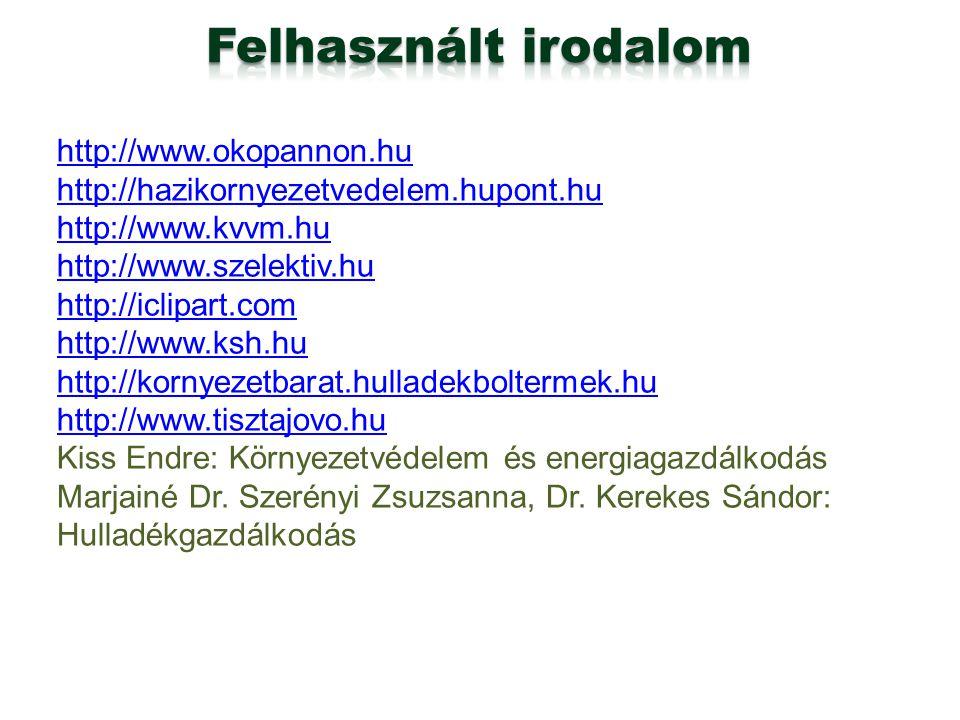 Felhasznált irodalom http://www.okopannon.hu