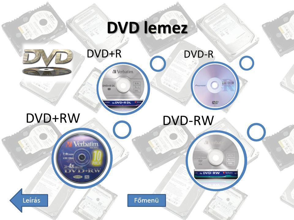 DVD lemez DVD+R DVD-R DVD-RW DVD+RW Leírás Főmenü