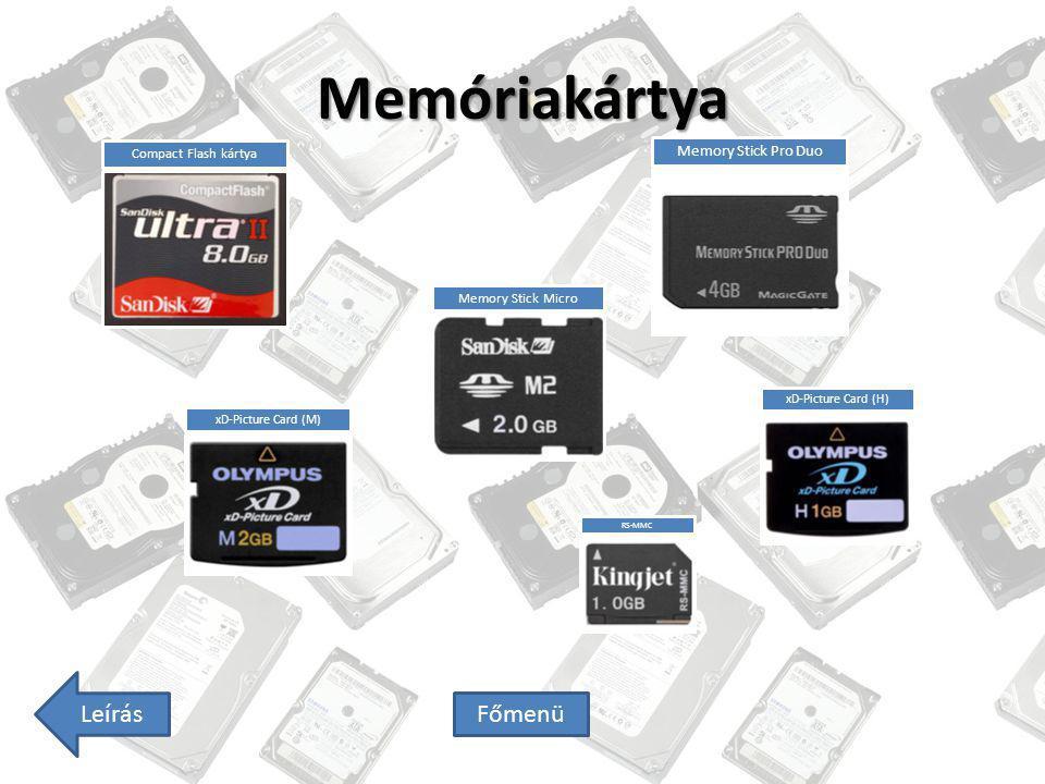 Memóriakártya Leírás Főmenü Memory Stick Pro Duo Compact Flash kártya