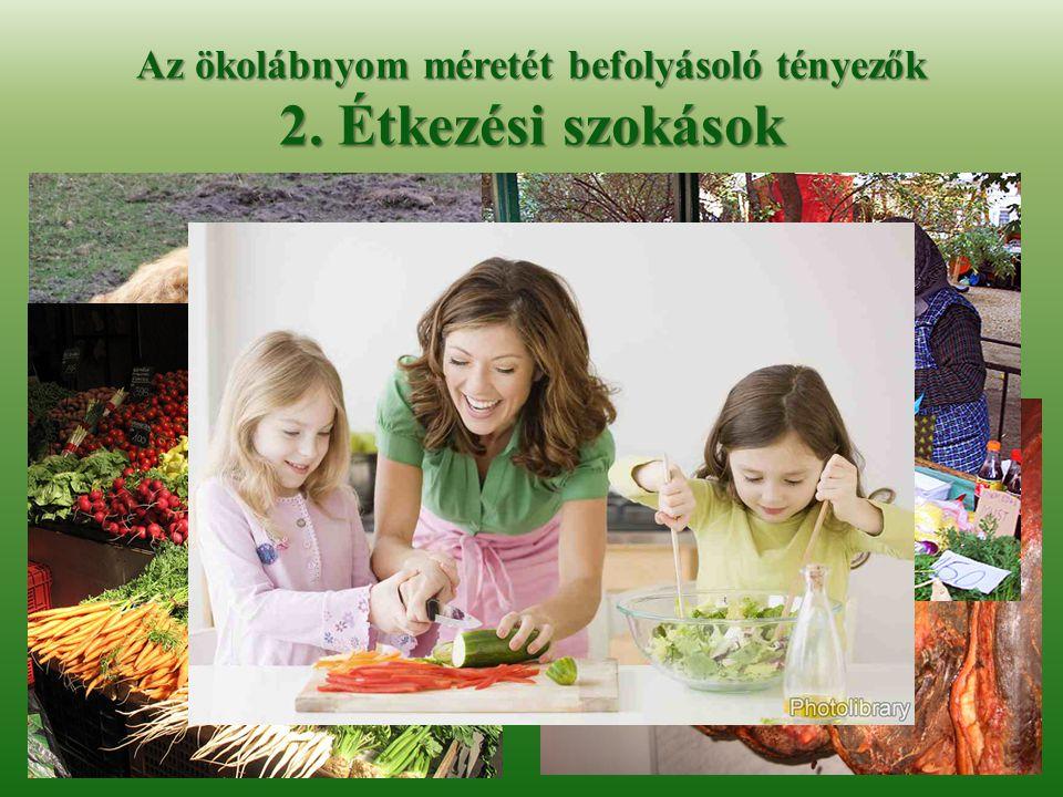 Az ökolábnyom méretét befolyásoló tényezők 2. Étkezési szokások