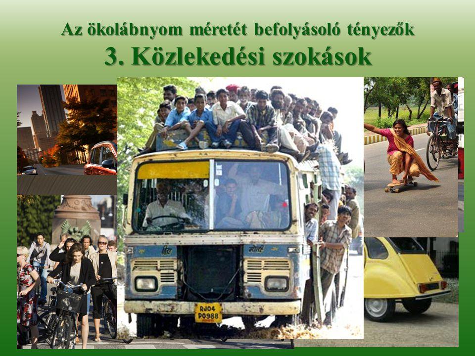 Az ökolábnyom méretét befolyásoló tényezők 3. Közlekedési szokások