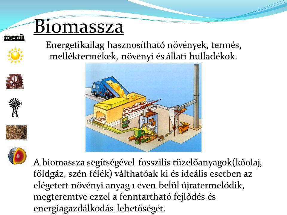 Biomassza Energetikailag hasznosítható növények, termés,