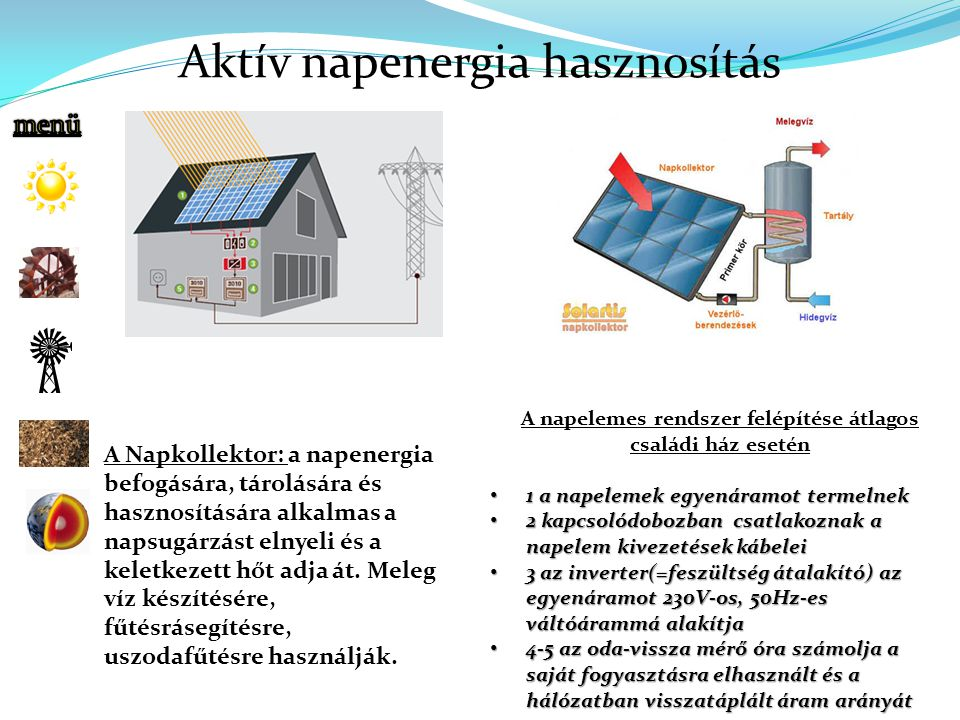 A napelemes rendszer felépítése átlagos családi ház esetén