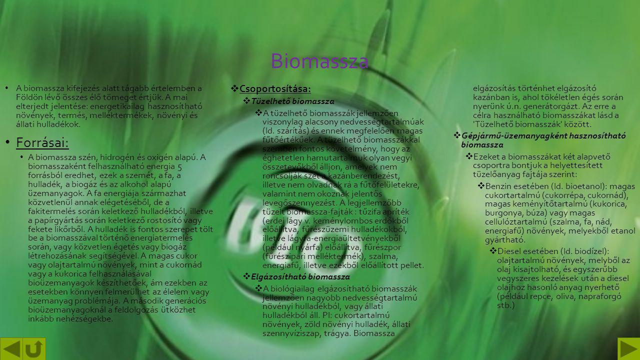 Biomassza Forrásai: Csoportosítása: