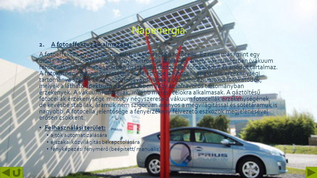 Napenergia A fotoeffektus alkalmazása: