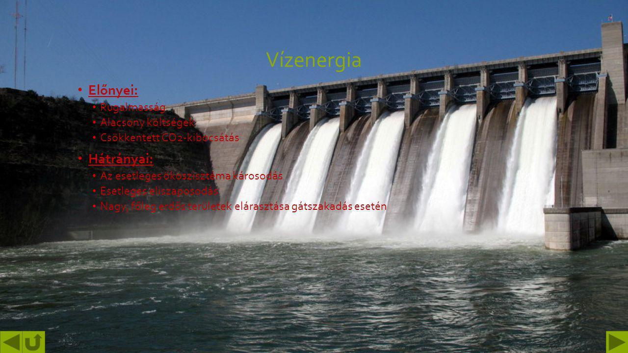 Vízenergia Előnyei: Hátrányai: Rugalmasság Alacsony költségek