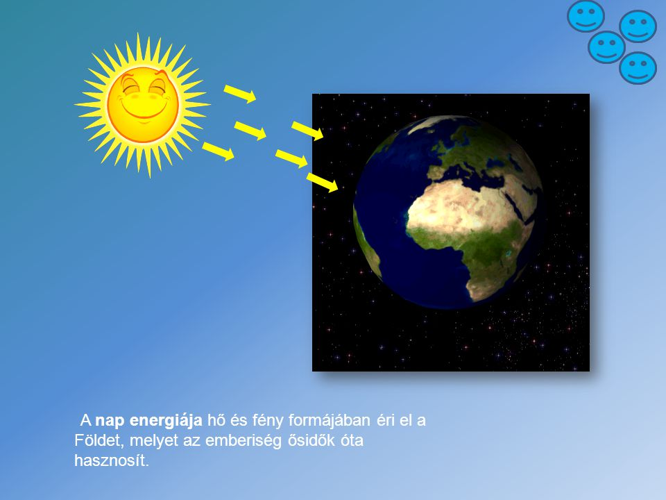 A nap energiája hő és fény formájában éri el a Földet, melyet az emberiség ősidők óta hasznosít.