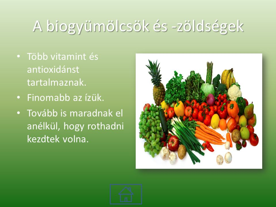 A biogyümölcsök és -zöldségek