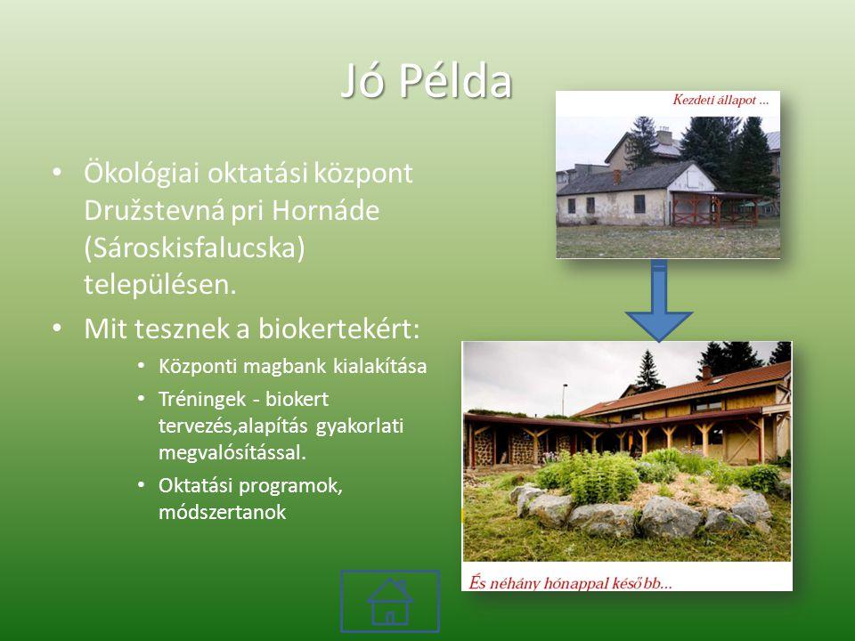 Jó Példa Ökológiai oktatási központ Družstevná pri Hornáde (Sároskisfalucska) településen. Mit tesznek a biokertekért: