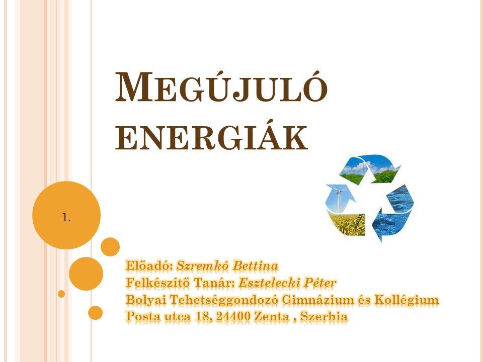 Megújuló energiák 1. Előadó: Szremkó Bettina