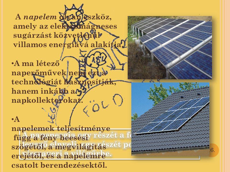 A napelemek teljesítménye