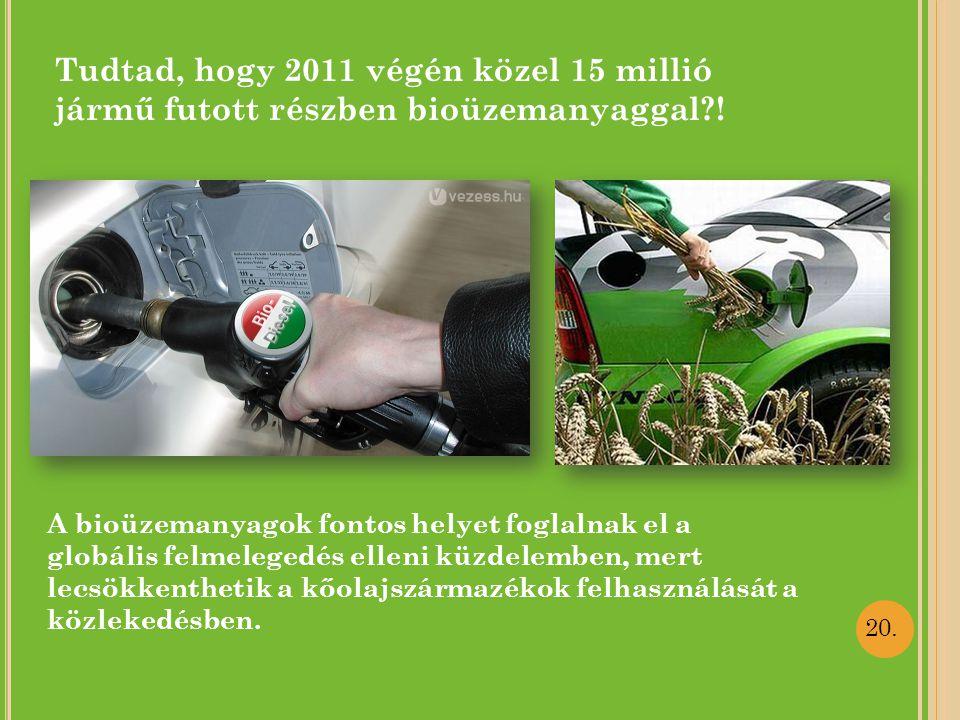 Tudtad, hogy 2011 végén közel 15 millió jármű futott részben bioüzemanyaggal !