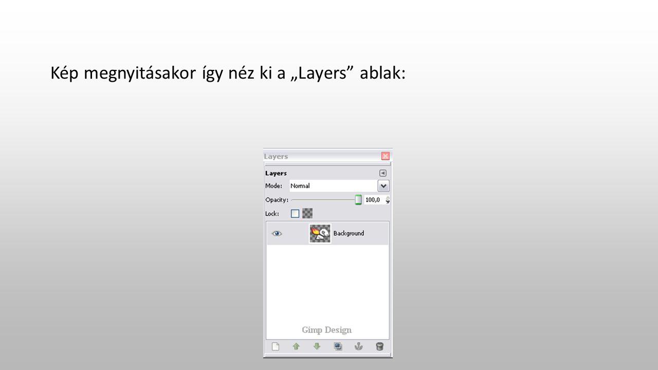 """Kép megnyitásakor így néz ki a """"Layers ablak:"""
