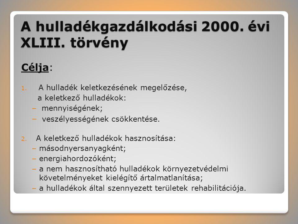 A hulladékgazdálkodási 2000. évi XLIII. törvény