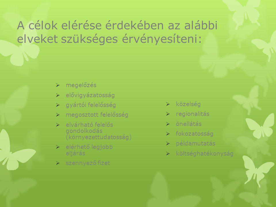 A célok elérése érdekében az alábbi elveket szükséges érvényesíteni: