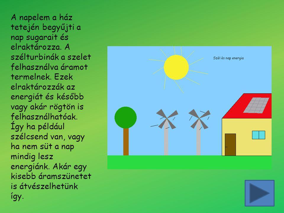 A napelem a ház tetején begyűjti a nap sugarait és elraktározza