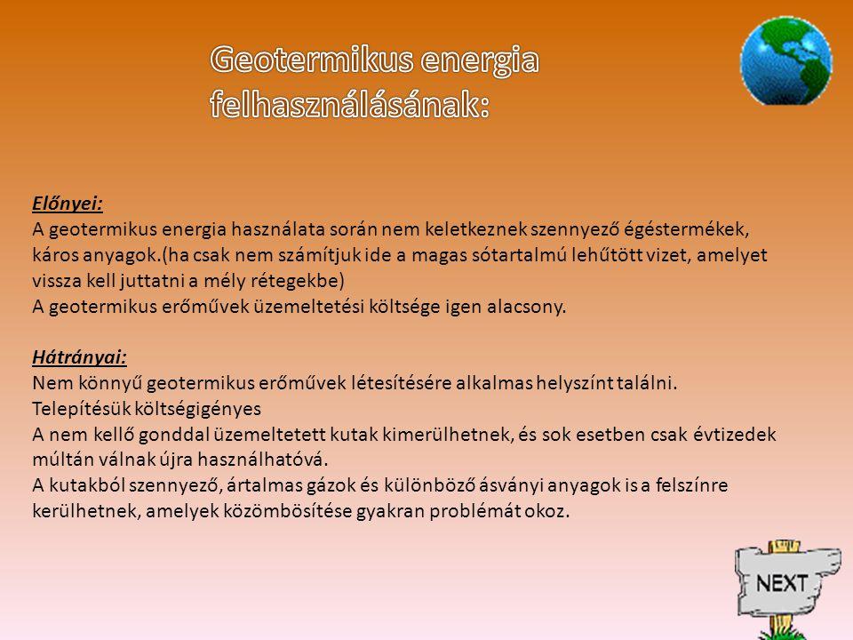 Geotermikus energia felhasználásának: