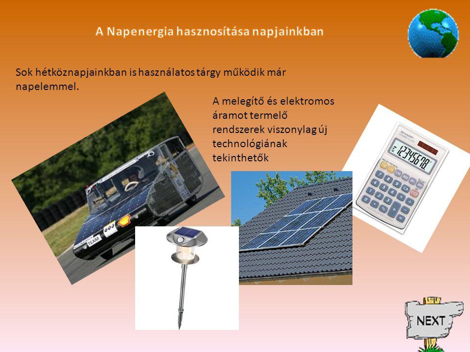 A Napenergia hasznosítása napjainkban