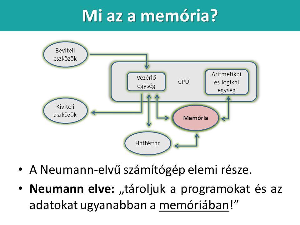 Mi az a memória A Neumann-elvű számítógép elemi része.