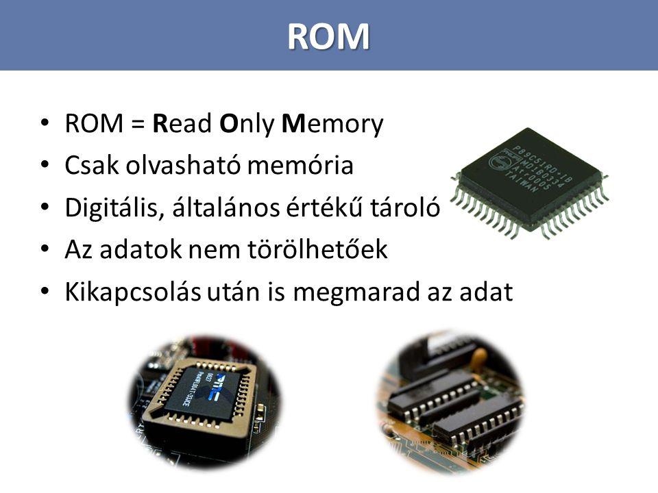 ROM ROM = Read Only Memory Csak olvasható memória