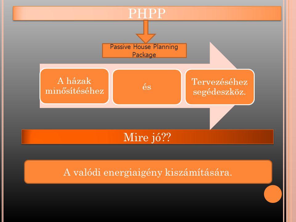 PHPP Mire jó A valódi energiaigény kiszámítására.