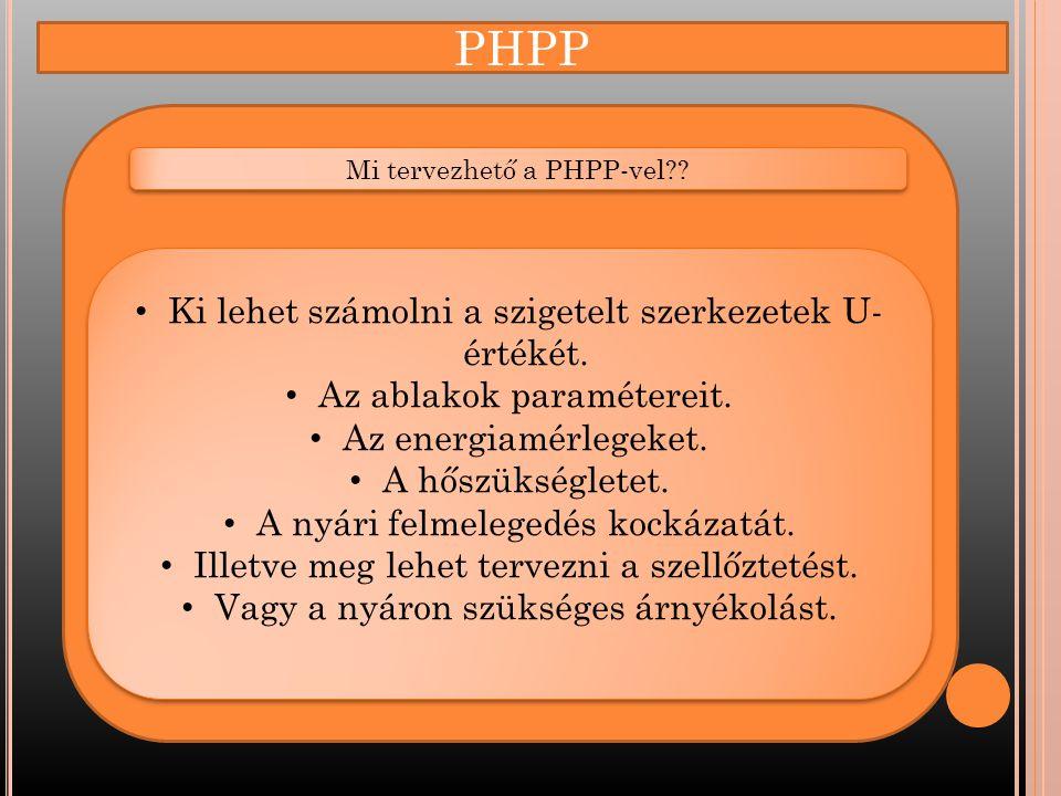PHPP Ki lehet számolni a szigetelt szerkezetek U-értékét.