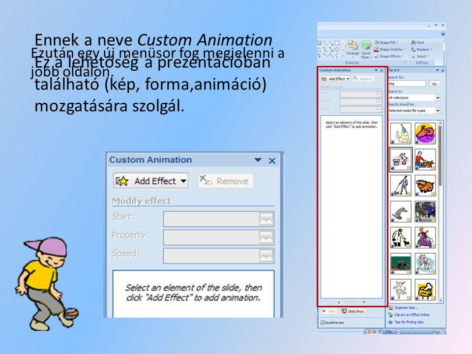 Ennek a neve Custom Animation