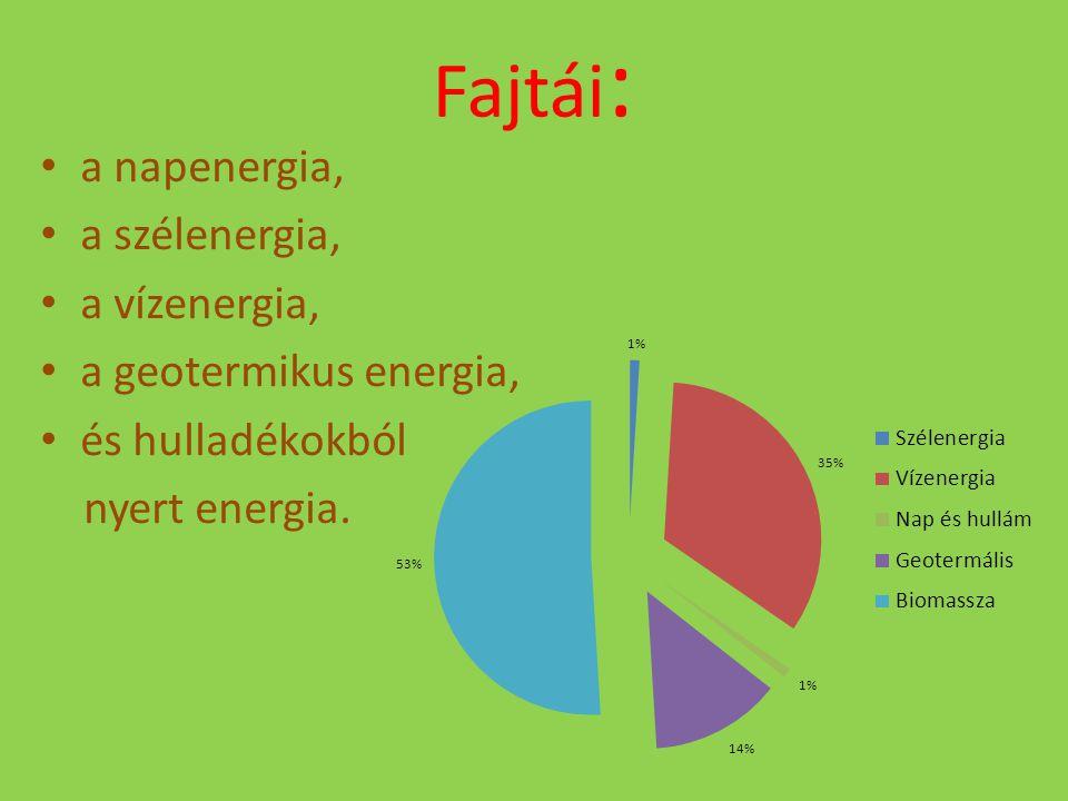 Fajtái: a napenergia, a szélenergia, a vízenergia,
