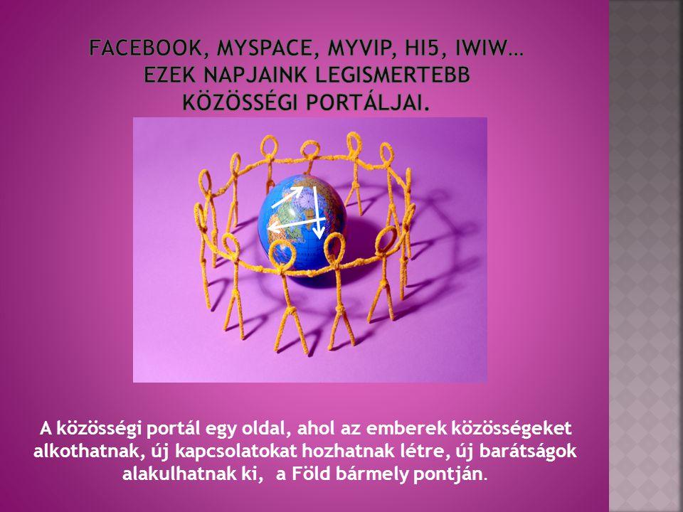 Facebook, Myspace, MyVip, HI5, iwiw… ezek napjaink legismertebb közösségi portáljai.