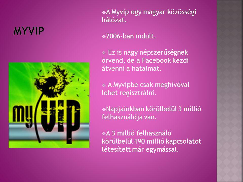 MyVip A Myvip egy magyar közösségi hálózat. 2006-ban indult.