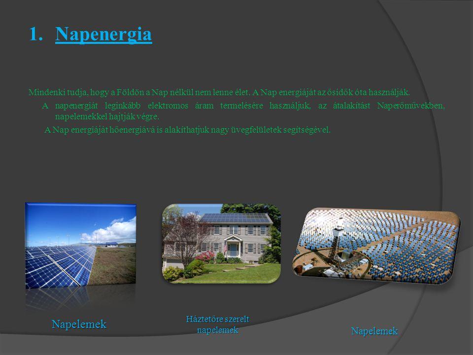 Háztetőre szerelt napelemek