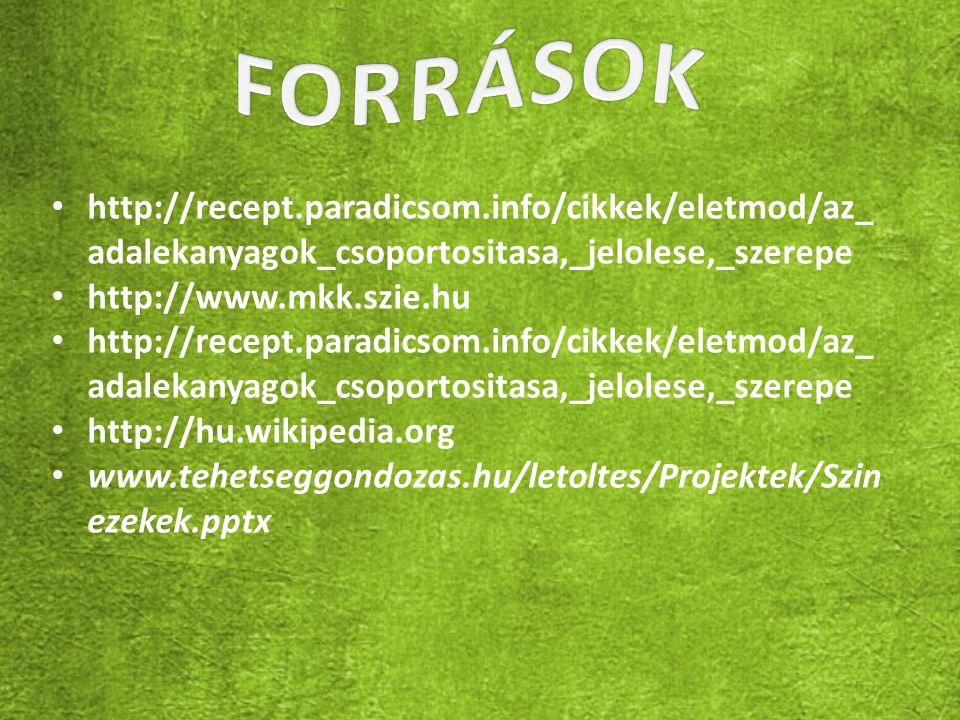 FORRÁSOK http://recept.paradicsom.info/cikkek/eletmod/az_adalekanyagok_csoportositasa,_jelolese,_szerepe.