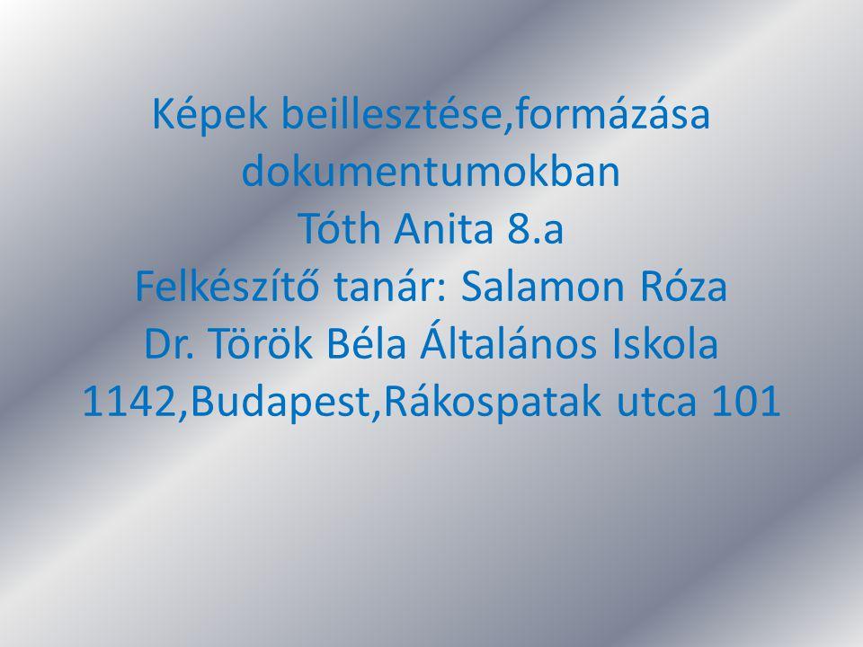 Képek beillesztése,formázása dokumentumokban Tóth Anita 8